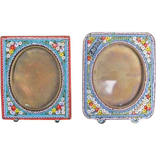 Antique Micro Mosaic frames depicting  flowers, 19th century