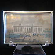 Antique silver framed  paperweight depicting an original steel engraving, 19th century