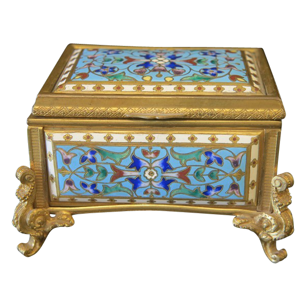 Antique enamel jewelry casket in cloissone technique, 19th century