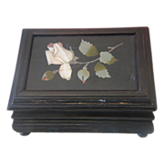Antique  Pietra Dura box depicting pink roses, 19th century