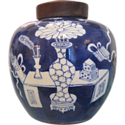 Kangxi Chinese blue and white porcelain jar or vase,19th century