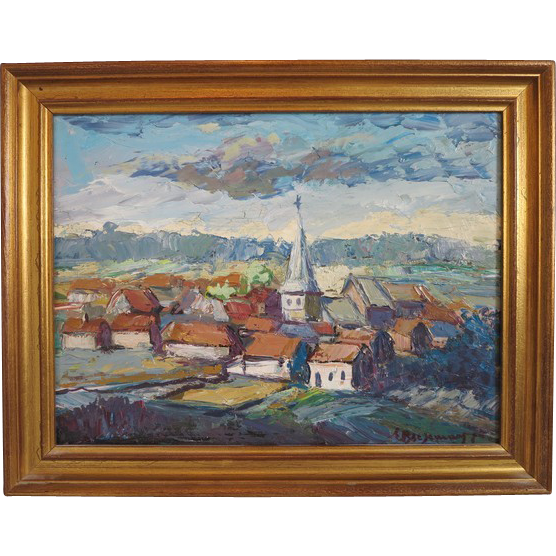 Colorful painting ,oil on canvas signed Emile Biesemans and dated 1973