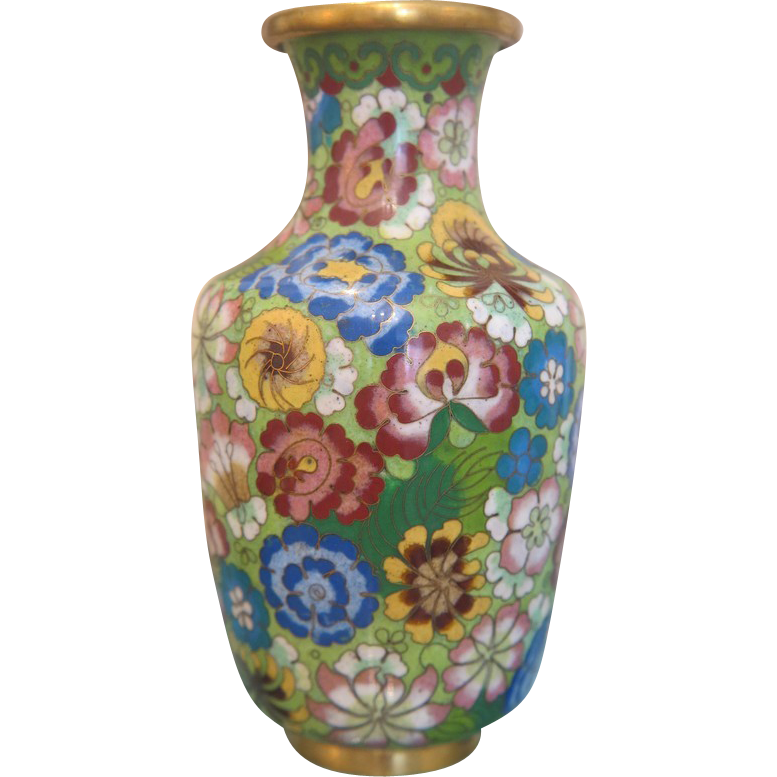 "Vintage  Cloissoné Vase in ""all over flower"" design , early 20th century"
