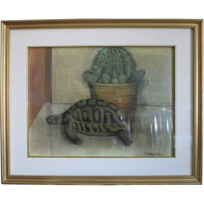 Italian painting oil on canvas depicting a turtle and a cactus, ca.1940
