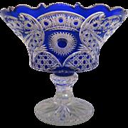Antique Bohemian Cobalt blue lead crystal glass centerpiece, ca.1900
