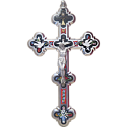 Antique Roman Micro Mosaic crucifix of extraordinary quality and size, 19th century