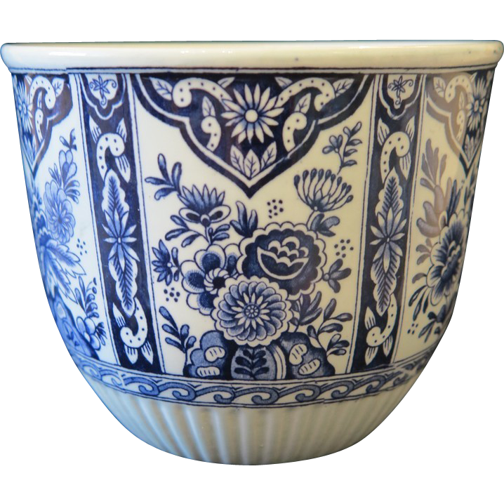 Royal Sphinx pottery flower pot in Delft design, ca.1900