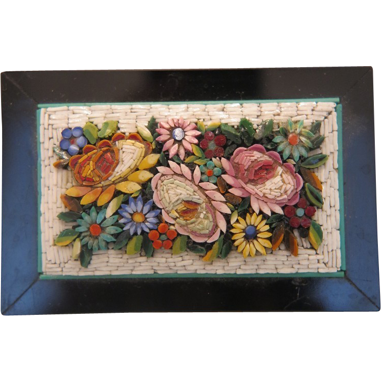 Grand Tour Micro Mosaic Paperweight depicting flowers