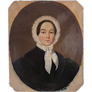 Portrait of a young lady with a white bonnet,oil on canvas,19th century