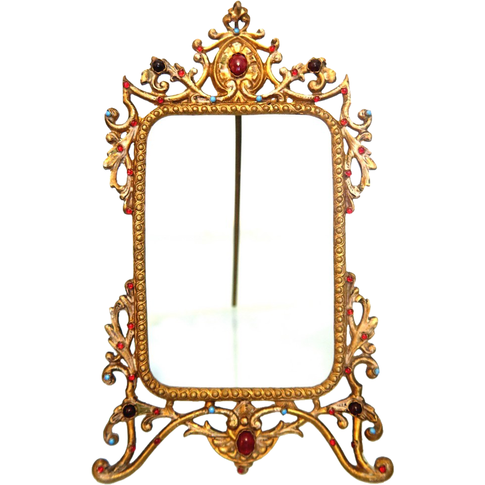 Art Deco frame with colorful glass cabochons, ca.1910