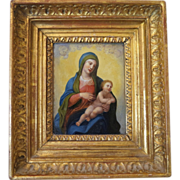 Painting of the Madonna and the Christ Child, oil on copper,  18th century
