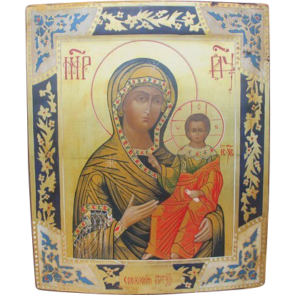 Russian Icon of the Holy Virgin of Hodegetria on gold leaf, early 20th century