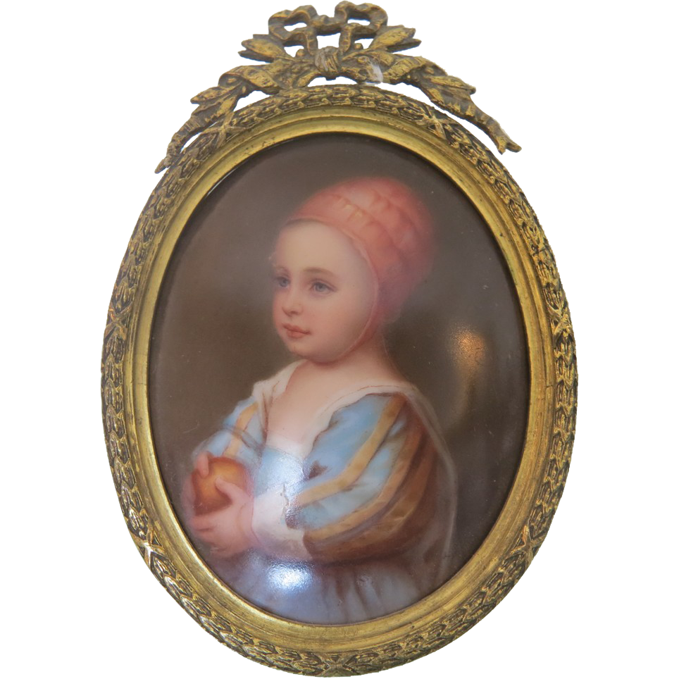 Antique porcelain painting set in a Gilt Bronze frame, 19th century
