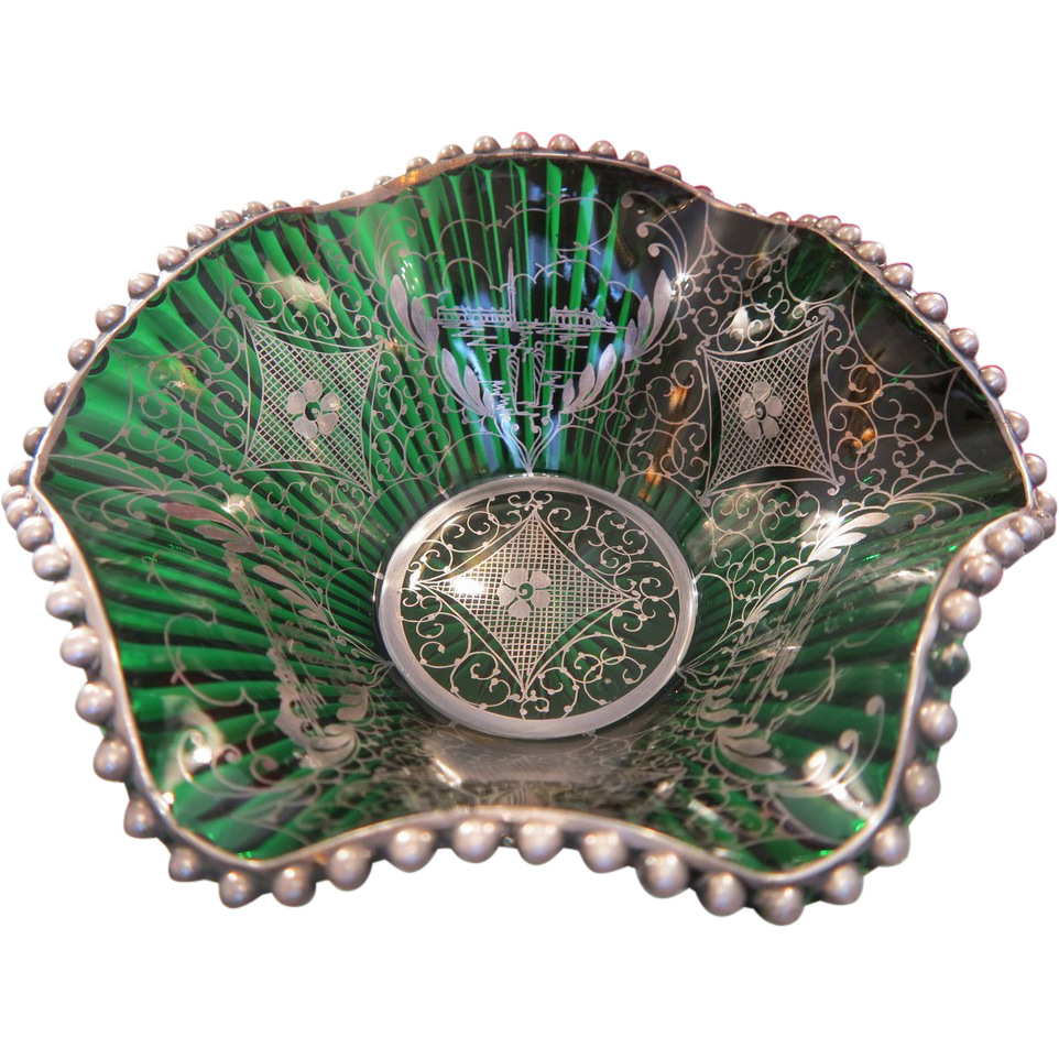 Antique Venetian green glass bowl hand painted with silver, late 19th century