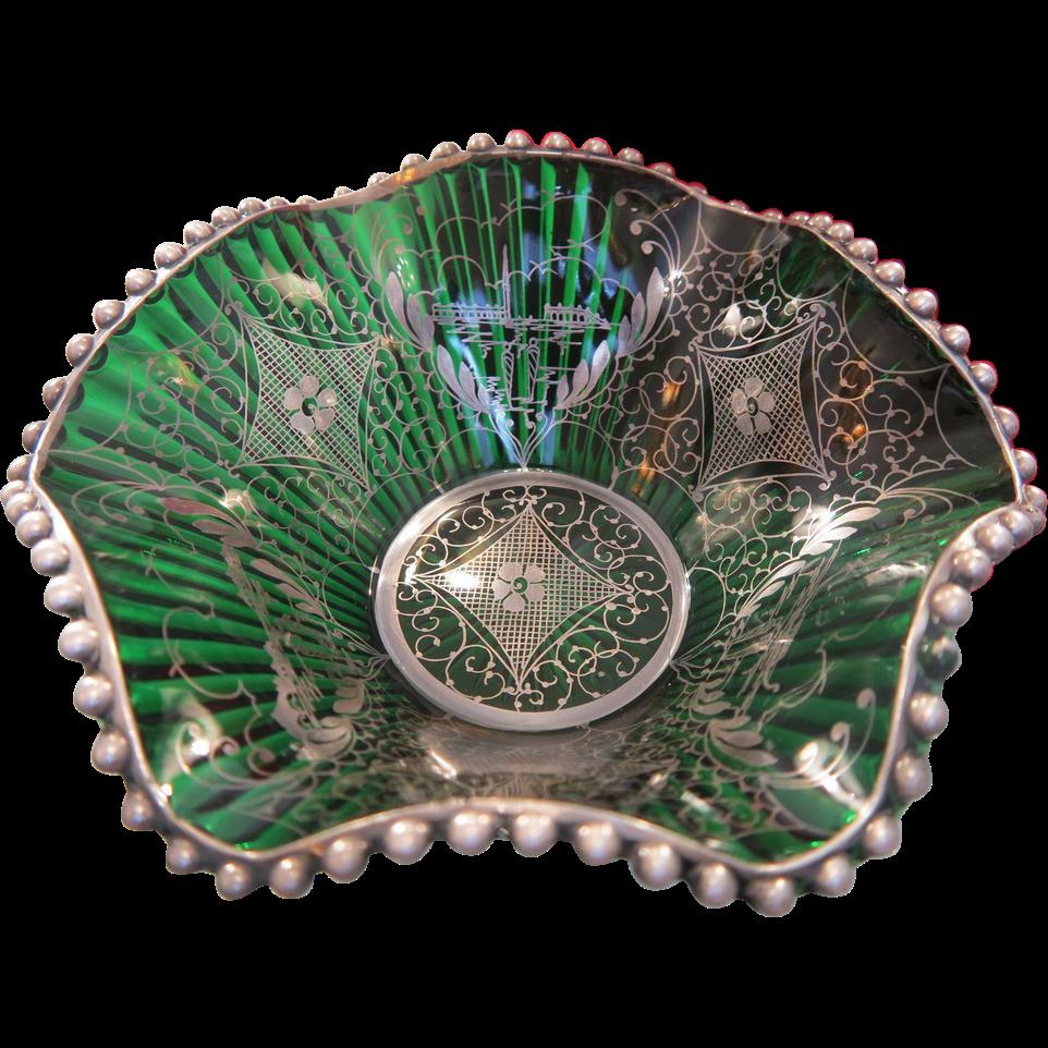 Antique Murano  green glass bowl,Venice late 19th century