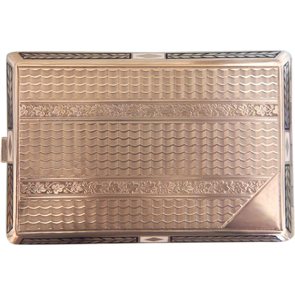 Art Nouveau enamelled silver cigarette case, ca.1900