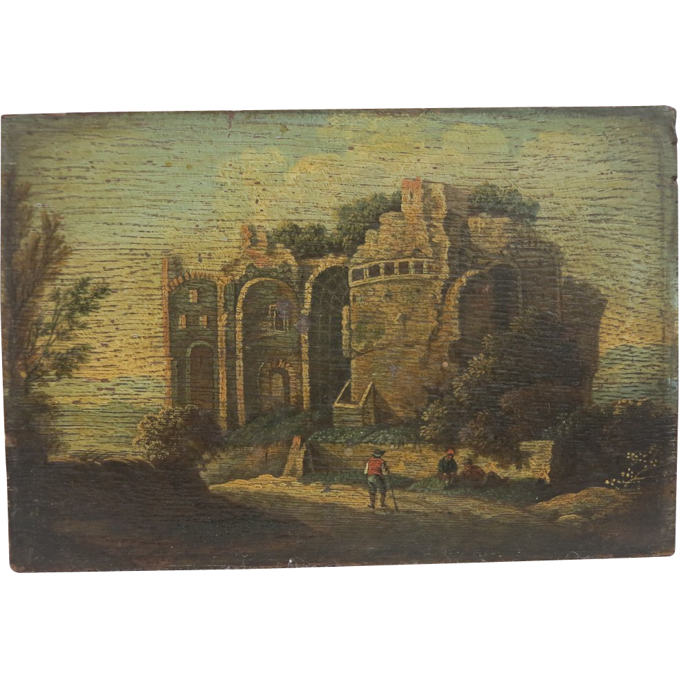 Antique Italian Painting Crafted Oil On Wood Dated At The