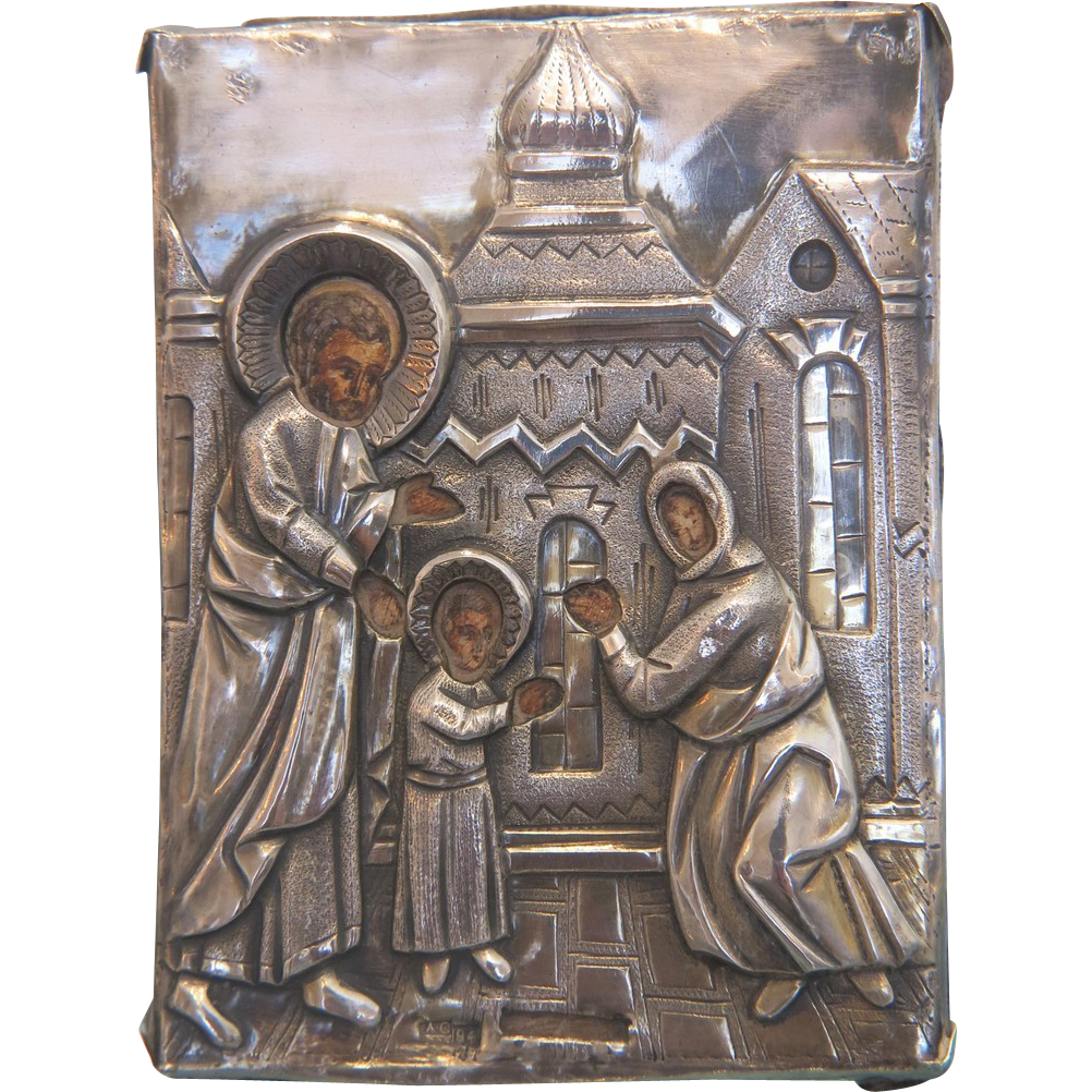 Antique Russian Icon with fine silver oklad, late 19th century