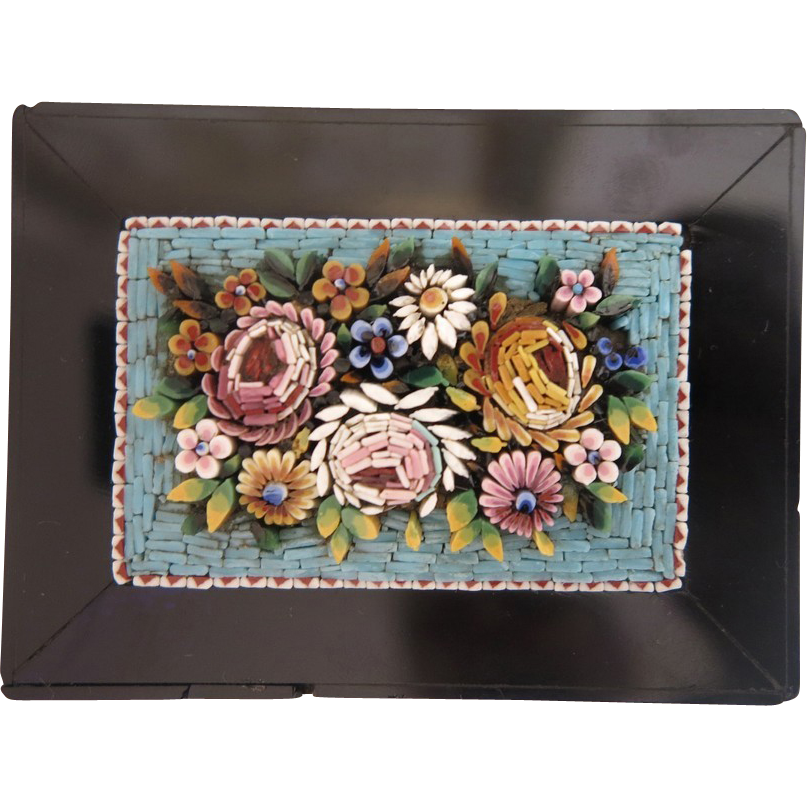 19th century Micro Mosaic Paperweight depicting roses and flowers