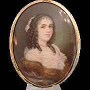 Antique portrait miniature of a young woman, 19th century