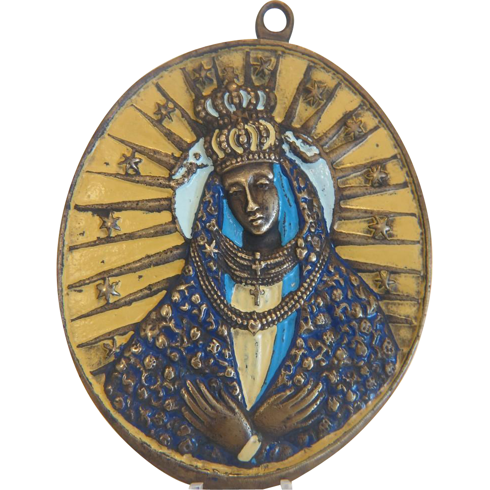 Russian Icon depicting the Holy Virgin, enamel on metal, 19th century