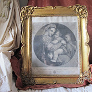 "Antique steel engraving depicting Raphael´s ""The Madonna della Sedia"", 18th century"