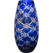 Art Deco Bohemian Cobalt blue crystal glass vase, ca.1930