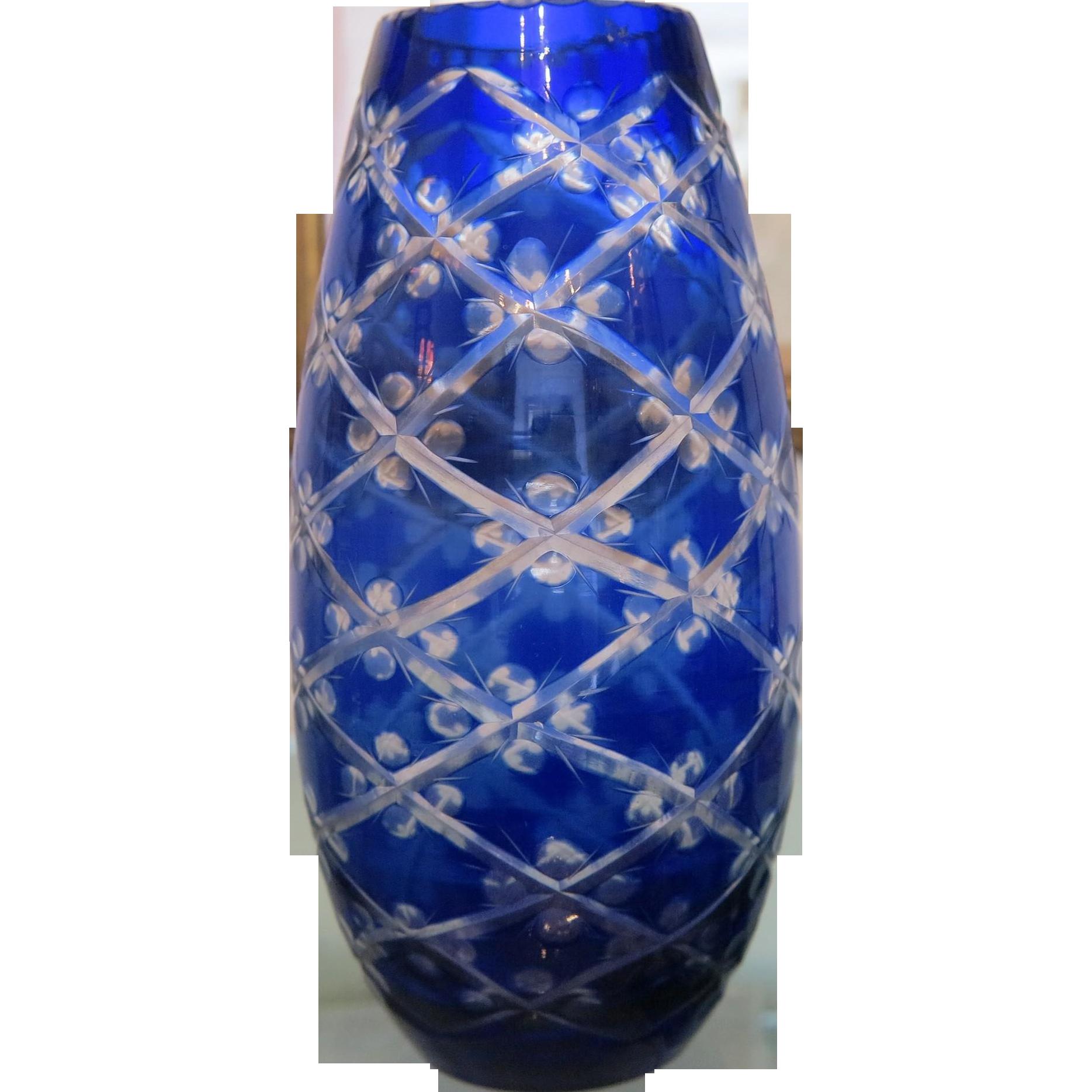 art deco bohemian cobalt blue crystal glass vase. Black Bedroom Furniture Sets. Home Design Ideas