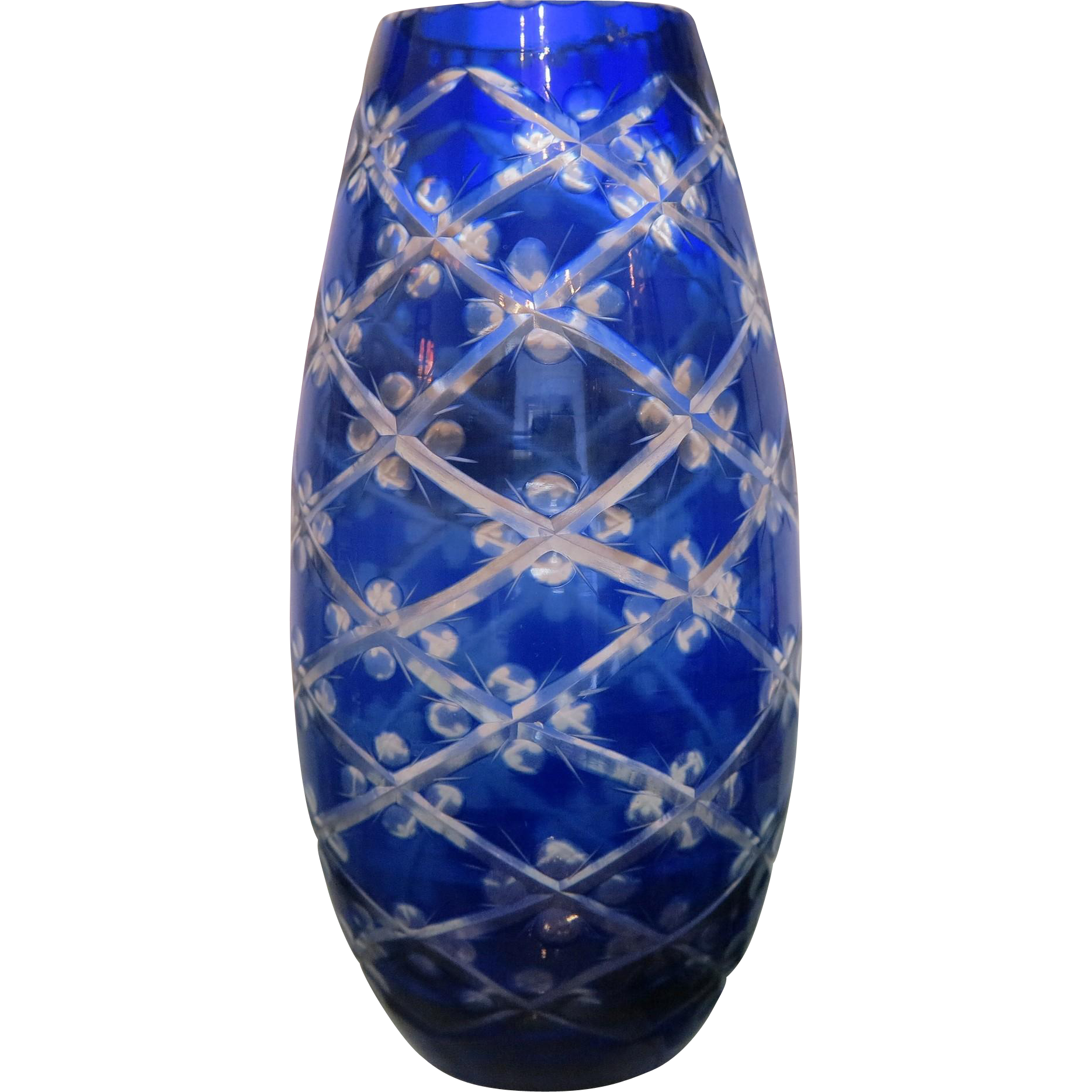 Art deco bohemian cobalt blue crystal glass vase ca1930 art deco bohemian cobalt blue crystal glass vase ca1930 chateau antique ruby lane floridaeventfo Image collections