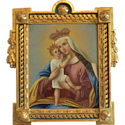 Antique painting of the Holy Virgin and the Christ Child, oil on copper, 19th century