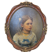 Antique painting depicting a young girl, oil on canvas, 19th century - Red Tag Sale Item
