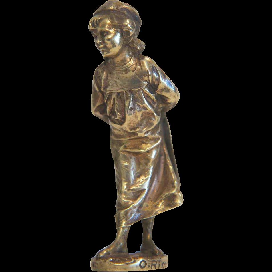 Art Nouveau Vienna Bronze figure of a little girl, ca. 1910