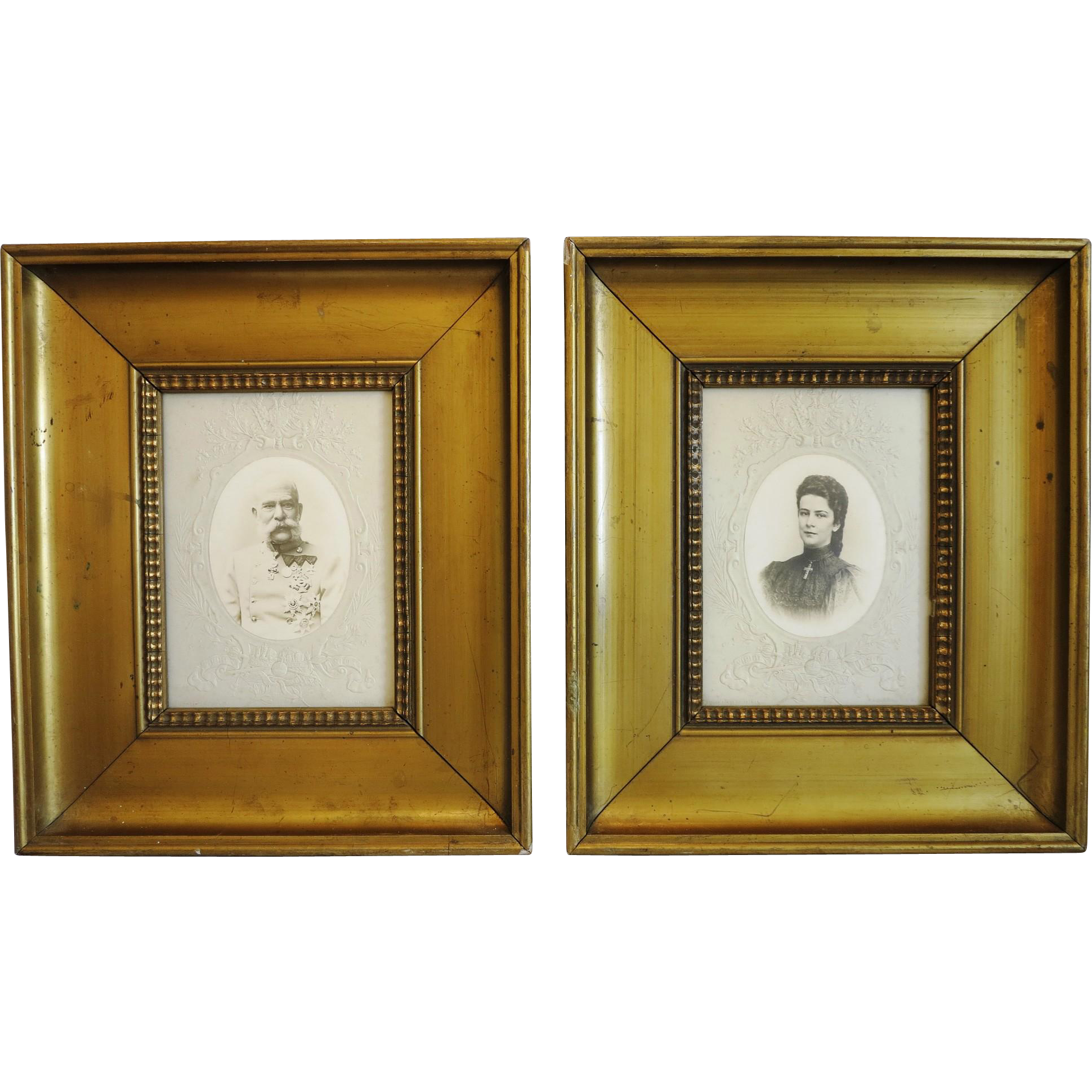Pair of antique photos of Empress Sisi and her husband Emperor Franz Joseph I, 19th century