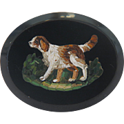 Antique Roman Micro Mosaic depicting a Spaniel, 19th century
