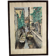 Water color painting depicting a Venetian scenery, signed and dated 1953