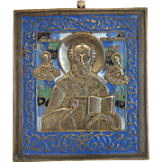 Antique Russian Icon adorned with enamel, 19th century