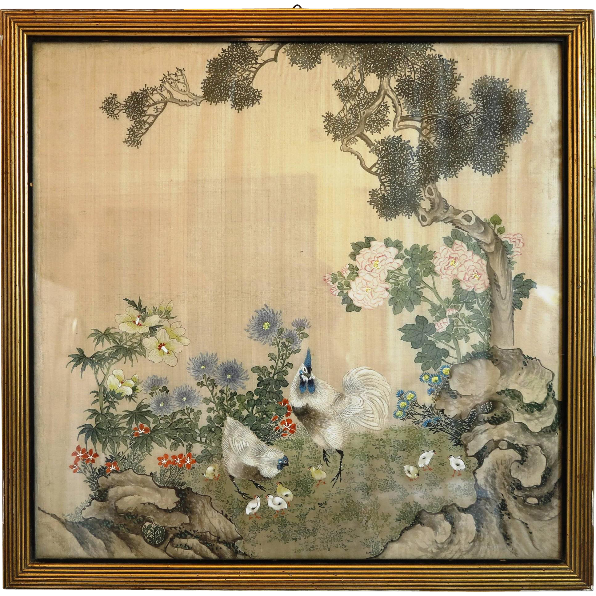 japanese landscape silk painting ca 1920 from chateau on