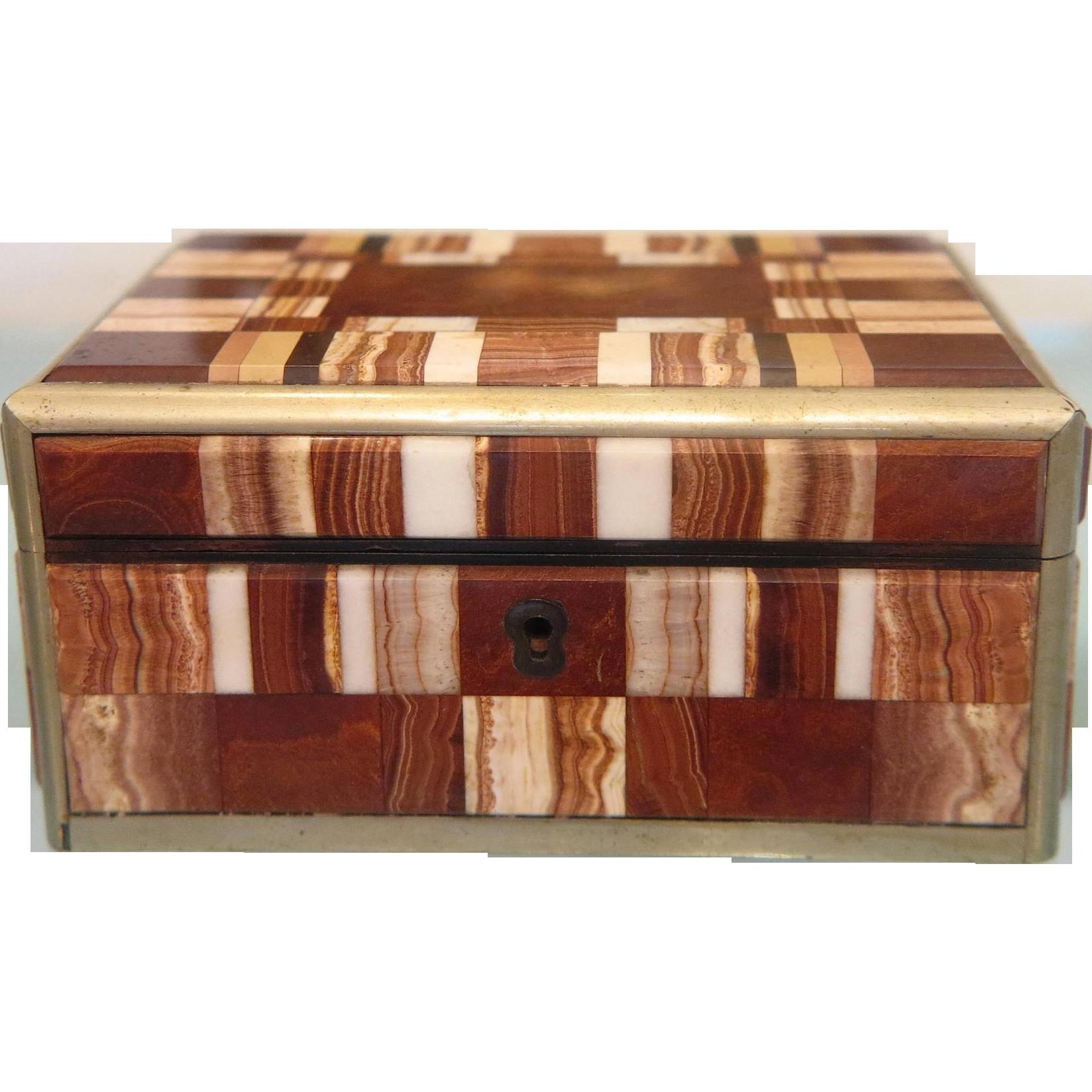Antique Pietra Dura Karlsbad box, 19th century