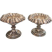 Antique silver salt cellars with a lobbed rim, ca. 1870