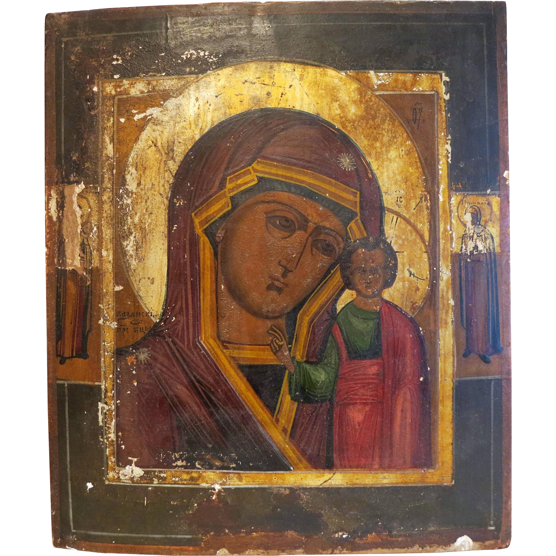 Antique Russian Icon of the Holy Virgin of Kazan,19th century