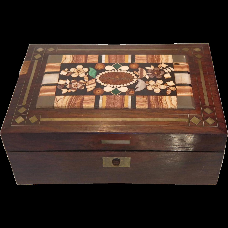 Antique Bohemian Pietra Dura Box, 19th.century