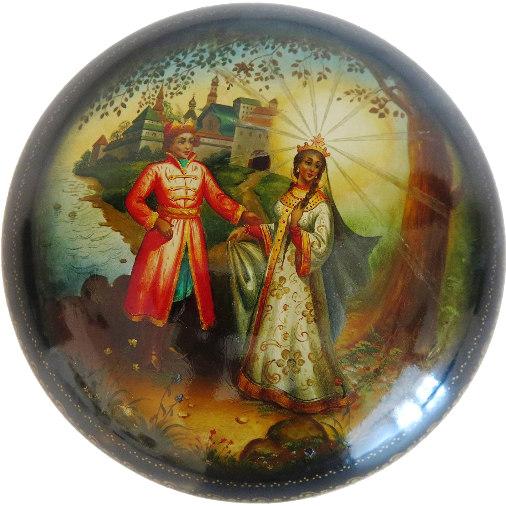 Russian lacquer box in Palekh style, 20th century