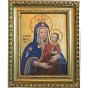 Antique Madonna painting  , 19th century