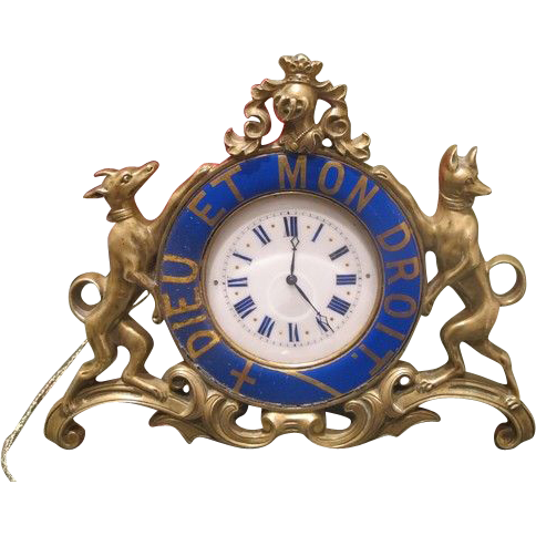 Antique Gilt Bronze table clock adorned with blue enamel signed Jean Morel, first half 19th century