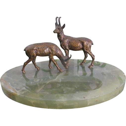 Two Vienna Bronze figures modelled as two deer standing on an oval Nephrite pen tray,early 20th century