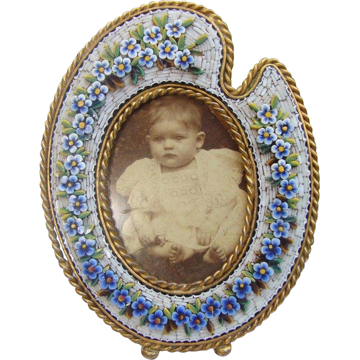 Antique Micro Mosaic frame  with blue flowers, 19th century