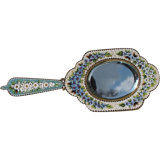 Antique Micro Mosaic hand mirror , Italy 19th century