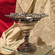 Antique silver cup with Niello foliage adornment