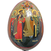 Russian lacquered wooden painted Easter egg, first half 20th century