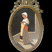 Antique Florentine Pietra Dura plaque set in a gilt bronze frame, 19th century